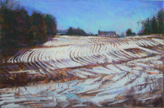 Winter Cornfield  Giclee Print